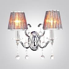 enticing glamorous two lights fabric shades wrought iron wall
