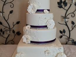 4 Tier Round And Square Wedding Cake Purple Bling