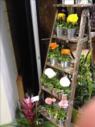 Creative IdeaInnovative Rustic Wood Ladder Garden Planter With Colorful Flowers On Stainless Pots Easy
