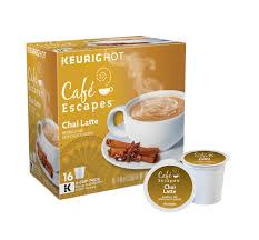 Decaf Pumpkin Spice Latte K Cups by Café Escapes Chai Latte Keurig Single Serve K Cup Pods 16 Count