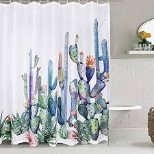 alishomtll kaktus duschvorhang kakteen digitaldruck mit 12 haken polyester stoff badezimmer vorhänge wasserdicht schimmelresistent 175x178cm weiß