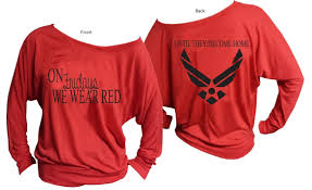air force red friday off the shoulder shirt