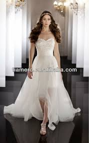 Famous Short Front And Long Back Wedding Dresses With Detachable Train Xk 1786