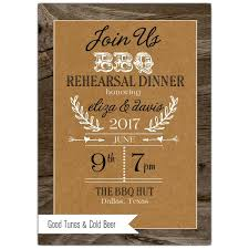BBQ Rustic Banner Rehearsal Dinner Invitations