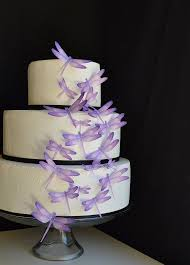 Wedding Cake Topper Edible Dragonflies Assorted Purple Cake and
