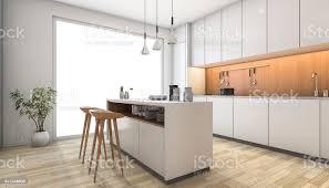 Modern White Kitchen Interior 3d Rendering Stockfoto Und 3d Rendering Weiße Moderne Küche Mit Bar Aus Holz Stockfoto Und Mehr Bilder Accessoires