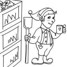 Christmas Elves Working In The Santa Claus Factory Coloring Page