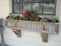 Handcrafted Rustic Window Box Planters Out Of Reclaimed Cedar And Tin For Standard To