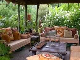 Fresh Backyard Garden Atmosphere Paired With Rustic Outdoor Seating Area Furniture Set Under Decorative Canopy Roof
