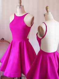 simple short a line pink homecoming dress with criss cross