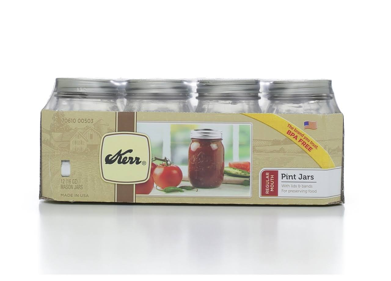 Kerr Regular Mouth Pint Mason Jars - 12ct, 16oz