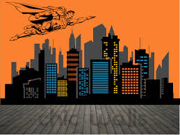 Superhero Wall Decor Stickers by Superman City Skyline Superhero Flying Over Buildings Premium