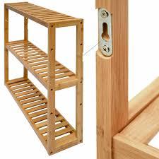 details zu wandregal 54x60x15cm bambus bad regal 3 fächer holz ablage badezimmer hängeregal