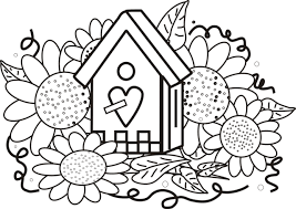 Birdhouse Sunflowers Coloring Page