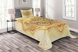 abakuhaus orientalisch tagesdecke set künstlerische alte mandala set mit kissenbezug kein verblassen für einselbetten 170 x 220 cm dunkel orange