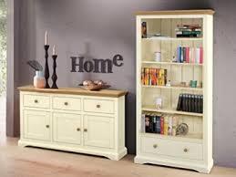 landhaus wohnzimmer set möbel bücherregal regal sideboard hanne aus mdf in creme und kiefernfarben