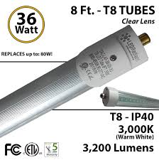 8ft led 36w t8 3200 lm 3000k clear ip40 fluorescent