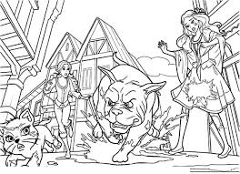 Barbie Three Musketeers Chase By Furious Dog Coloring Pages