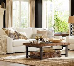traditional living room with pottery barn turner square arm