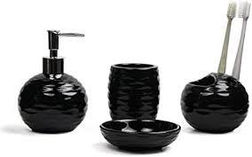 comsaf porzellan badezimmer zubehör set aus zahnbürstenhalter seifenspender zahnputzbecher und seifenschale schwarz 4er set