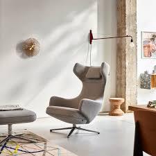 vitra grand repos sessel und ottoman cosy hellgrau 01 kieselgrau aluminium poliert filzgleiter