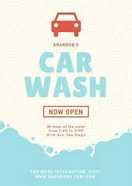 Light Blue Simple Bubbles Illustration Car Wash Poster