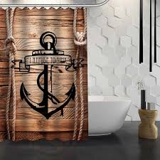 Custom wood and anchor Shower Curtain Waterproof Fabric Shower