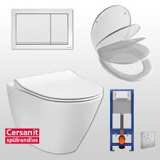 cersanit spülrandloses wand wc set komplett inkl sanwand wc element 41 cm breit wc sitz city betätigungsplatte schallschutzmatte