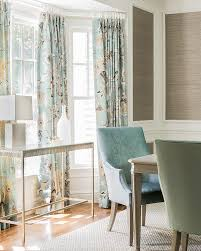 Blue And Taupe Dining Room With Nickel Glass Console Table In Bay Window