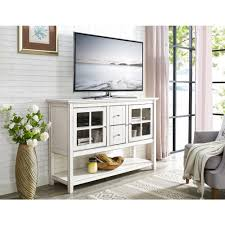 Walker Edison Furniture Company 52 In Antique White Wood Console Table Buffet TV Stand