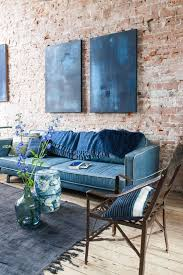 Modern Style Blue Sofas Also Arm Chair Among Under Rustic Living Room Interior With Brick Wall