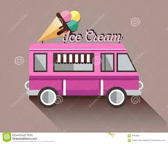 100 Ice Cream Truck Party Colorful Vector Background Stock Vector