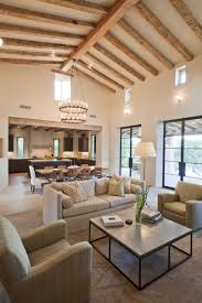 Traditional Vaulted Ceiling Kitchen Living Room With Hanging Lamp Extension And White Interior Color Ideas