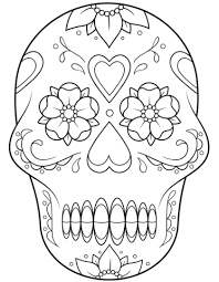 Click To See Printable Version Of Sugar Skull With Flowers And Hearts Coloring Page