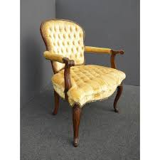 vintage french provincial tufted gold velvet accent chair chairish