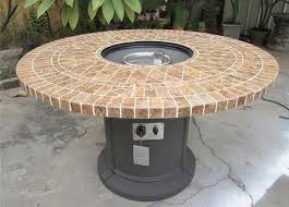 48 porcelain mosaic tile pit fireplace outdoor dining table