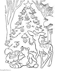 Christmas Tree Coloring Page Print by Christmas Coloring Pages Printable Animals Pages