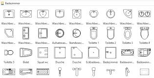 symbole für bauplan küche und badzimmer