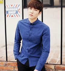 Young Men Wild Fashion Casual Shirt Blue Latest Trends Long Sleeved Sleeve Mens