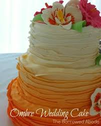 Sunset Ombre Ruffle Wedding Cake By Blondies In North Beach MD