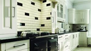 Rustic Kitchen Black And Cream Kitchen Wall Tiles Metro Tile