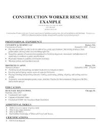 Resume Template Construction Worker Inspirational Sample For Laborer Examples