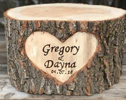Large Log Wood Stump 13 14in Rustic Cake Stand With Burned Names
