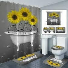 details zu 4pcs sonnenblumen bad set boden matten duschvorhang rutschfest toilette deckel