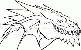 Coloring Page How To Draw A Drago Simple Dragon Drawing Head