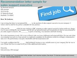 2 Recommendation Letter Sample For Sales Support Executive