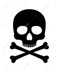 Skull Vector Silhouette Crossbones Death Icon Isolated On White Background Stock