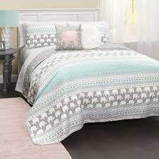 Look What I Found On Turquoise Pink Four Piece Elephant Stripe Quilt Set By Lush Dcor
