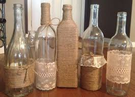 All Of The Centerpiecestens Various Liquor And Wine Bottles Mason Jars Wrapped In Twine Lace Burlap