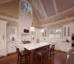 High Vaulted Ceiling Kitchen Diner With Brown Hardwood Floor Tiles White Cabinets And Hanging Lamp Lighting Extension Ideas